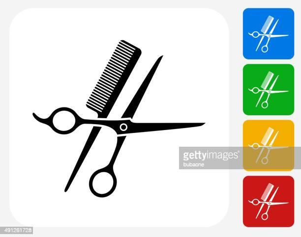 Scissors and Brush Icon Flat Graphic Design