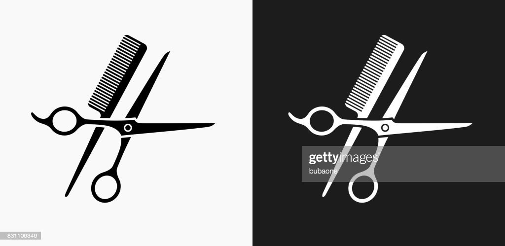 Scissors and Brush Icon on Black and White Vector Backgrounds