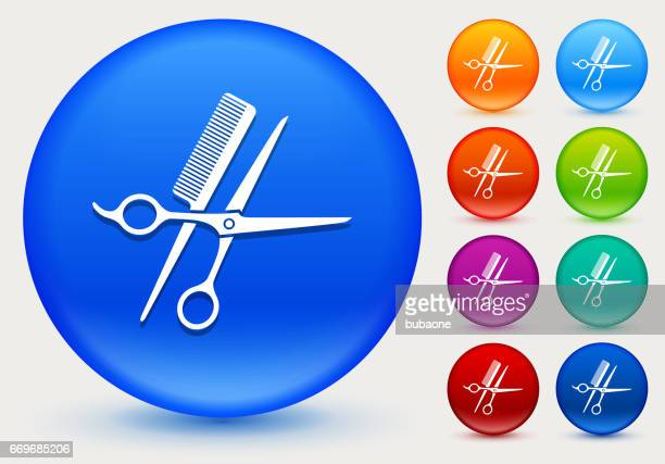 scissors and brush icon on shiny color circle buttons - {{relatedsearchurl('racing')}} stock illustrations, clip art, cartoons, & icons