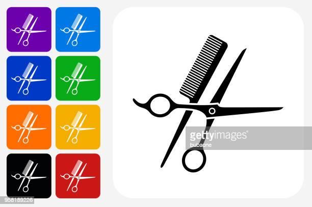 Scissors and Brush Icon Square Button Set