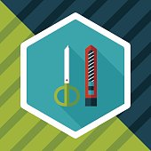 Scissors and paper knife flat icon with long shadow,eps10
