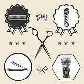 Scissors, barber pole, razor, combo, barber, shaving brush  symbol emblem