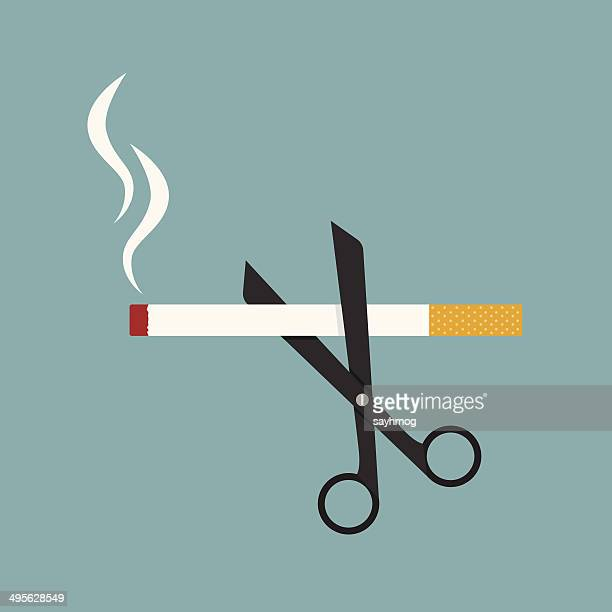 scissors cut a cigarettes - unhealthy eating stock illustrations