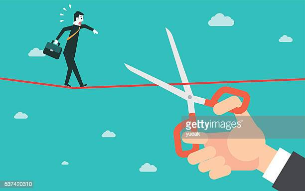 scissors cutting a rope - downsizing unemployment stock illustrations, clip art, cartoons, & icons