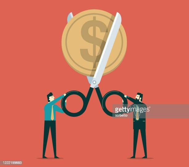 scissors cutting money - coin - low stock illustrations