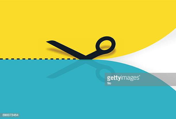 scissors cutting paper - cutting stock illustrations