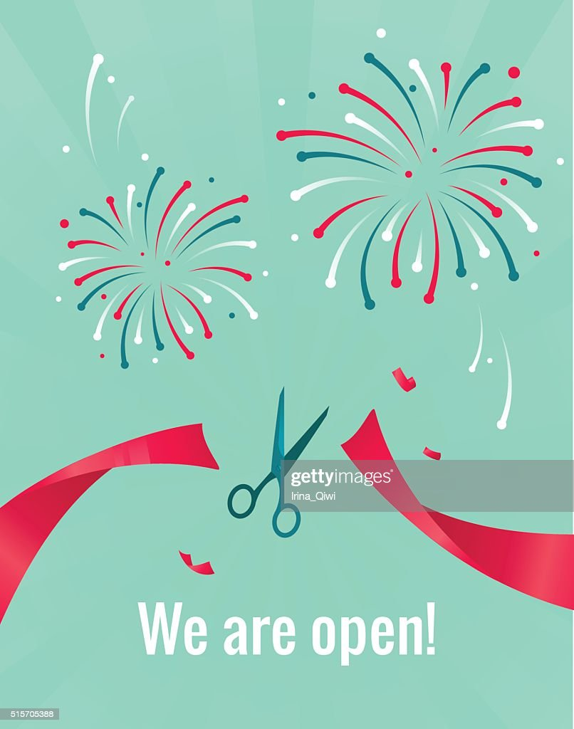 Scissors cutting red ribbon. We are open concept.