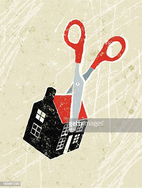 scissors cutting through a tiny house - downsizing unemployment stock illustrations, clip art, cartoons, & icons