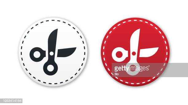 scissors icons - dotted line stock illustrations