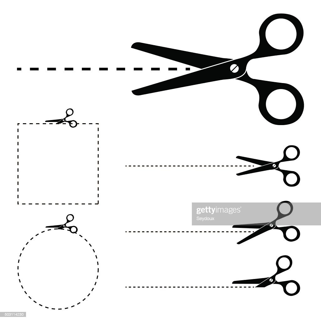 Scissors silhouette and cut lines set