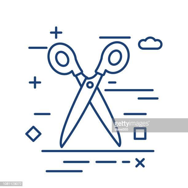 scissors thin line education icon - scissors stock illustrations