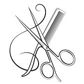 Scissors with a comb and curl hair