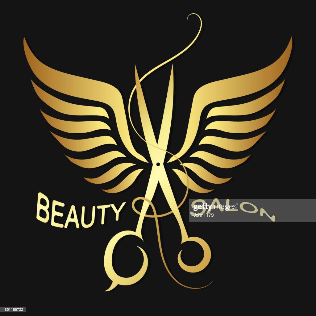 Scissors with wings symbol