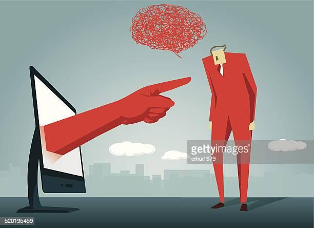 ilustrações de stock, clip art, desenhos animados e ícones de repreensão, cliente, discussão, mandão - cyberbullying