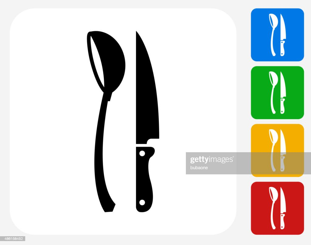 Scoop and Knife Icon Flat Graphic Design