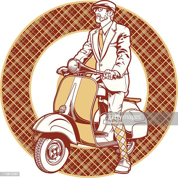 scooter and rider - moped stock illustrations, clip art, cartoons, & icons