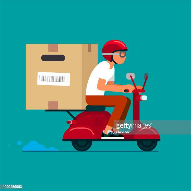 scooter delivery service - courier stock illustrations