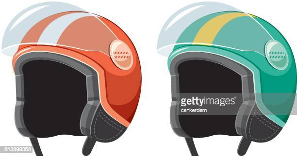 scooter helmet - motorcycle helmet isolated stock illustrations, clip art, cartoons, & icons