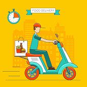 Scooter isolated. Delivery transport icon.
