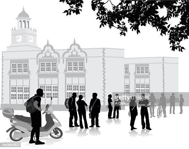 ilustrações de stock, clip art, desenhos animados e ícones de lambreta de escola multidão de preparação - patio de colegio