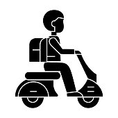 scooter travel  icon, vector illustration, sign on isolated background