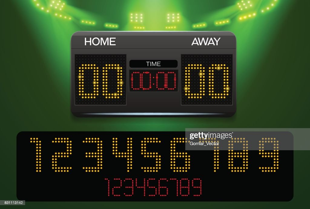 scoreboard and spotlight with stadium background