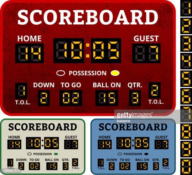 scoreboard grunge collection - football league stock illustrations