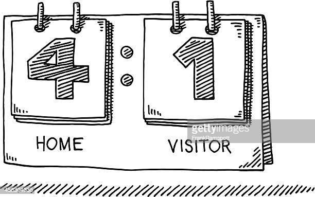 scoreboard home visitor drawing - scoring stock illustrations