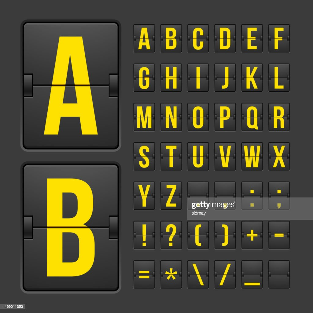 Scoreboard letters and symbols alphabet panel
