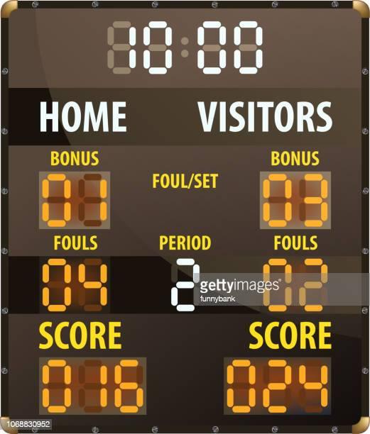 scoreboard - making a basket scoring stock illustrations