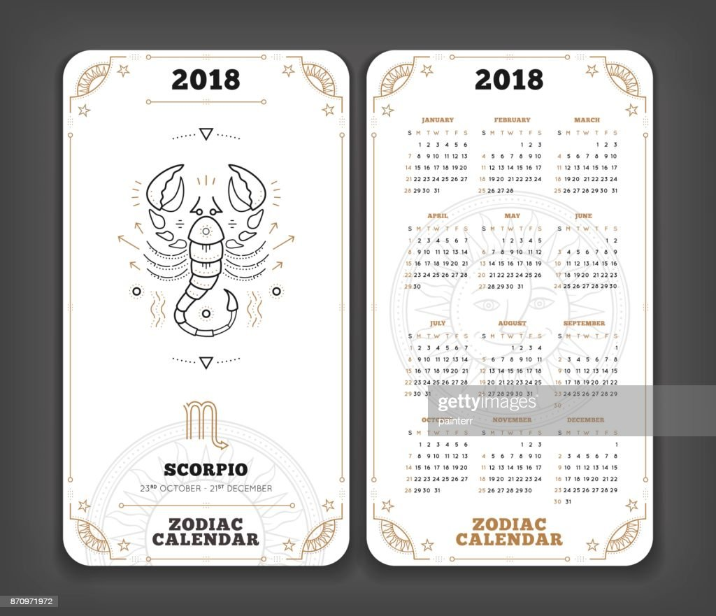 Scorpio 2018 Year Zodiac Calendar Pocket Size Vertical Layout Double