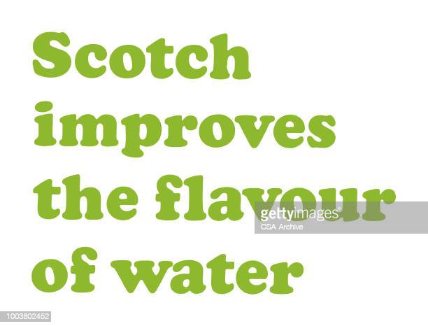 scotch improves the flavor of water - scotch whiskey stock illustrations, clip art, cartoons, & icons