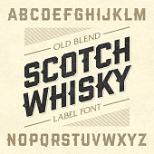 Scotch whiskey style label font with sample design
