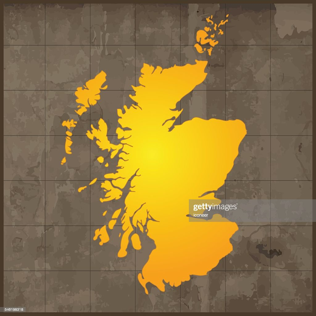 Scotland Gold Map On Grunge Grid Background Vector Art   Getty Images