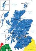 Scotland map in dark blue on white background