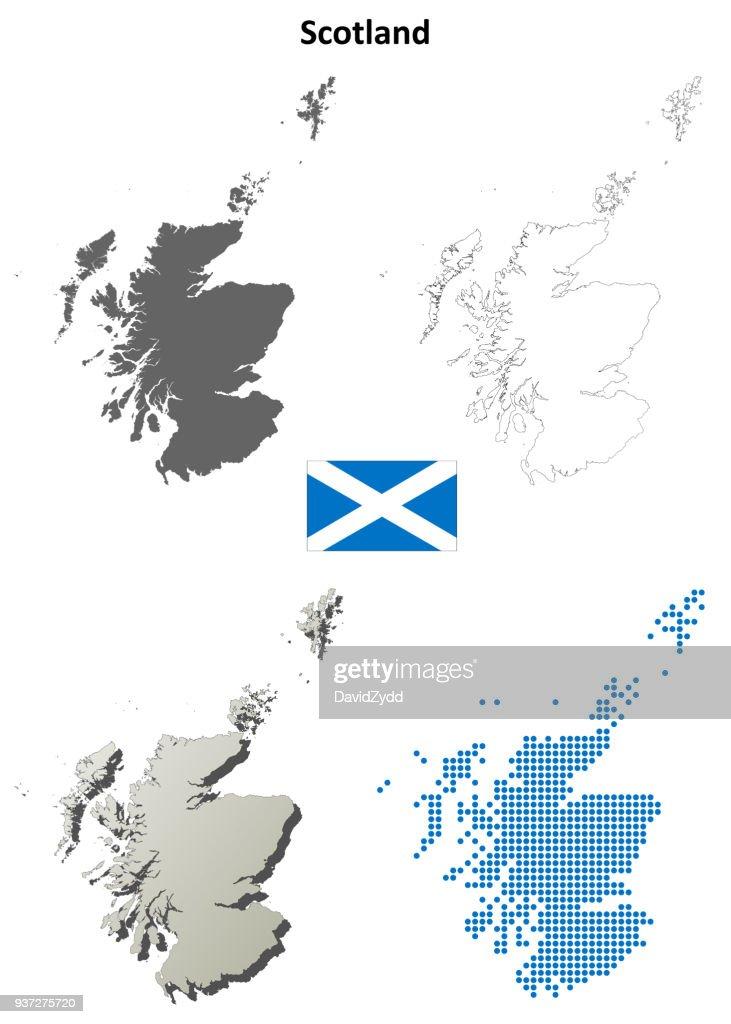 Scotland outline map set
