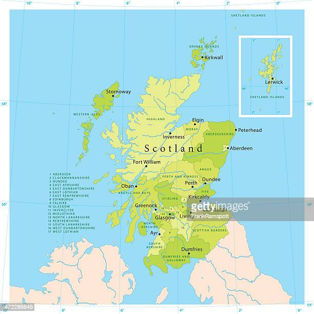 scotland vector map - grampian scotland stock illustrations