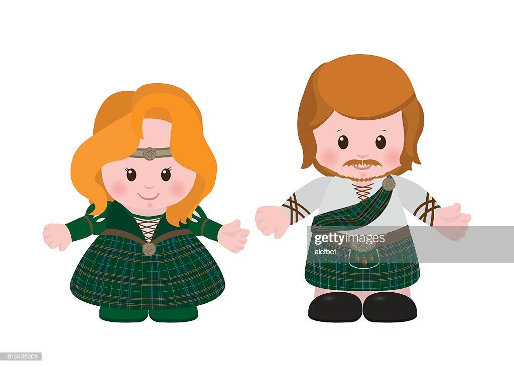 Scots in national dress tartan