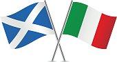 Scottish and Italian flags. Vector.