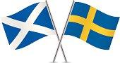Scottish and Swedish flags. Vector.