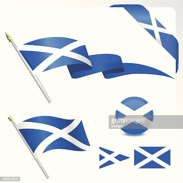 schottische flagge set - scotland stock-grafiken, -clipart, -cartoons und -symbole