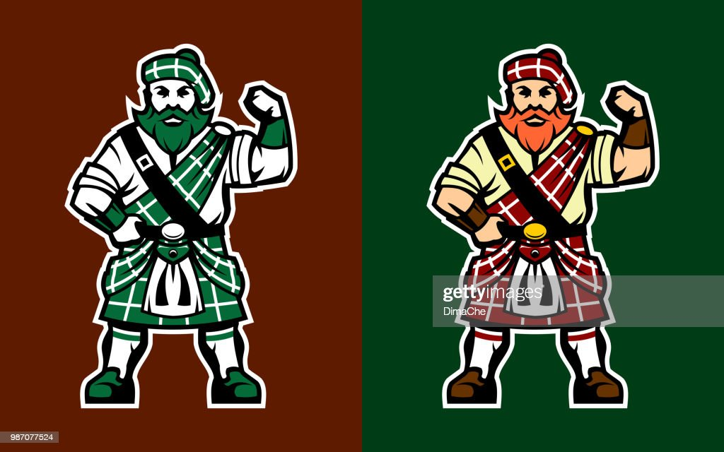 Scottish Highlander in kilt : stock illustration