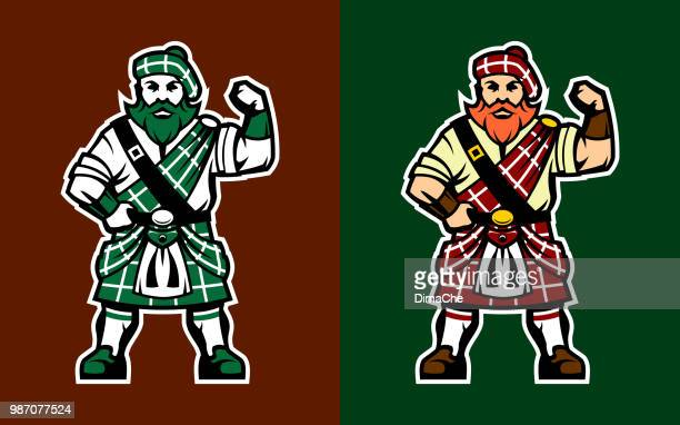 scottish highlander in kilt - scotland stock illustrations