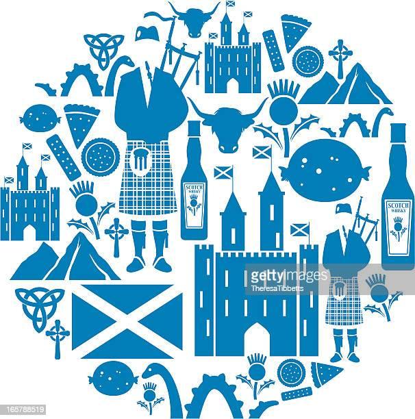 scottish icon montage - thistle stock illustrations, clip art, cartoons, & icons