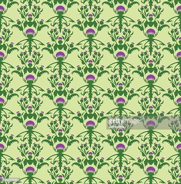 scottish thistle - seamless pattern - thistle stock illustrations, clip art, cartoons, & icons