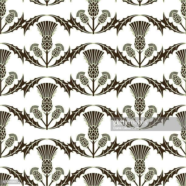scottish thistle wavy repeating pattern - thistle stock illustrations, clip art, cartoons, & icons