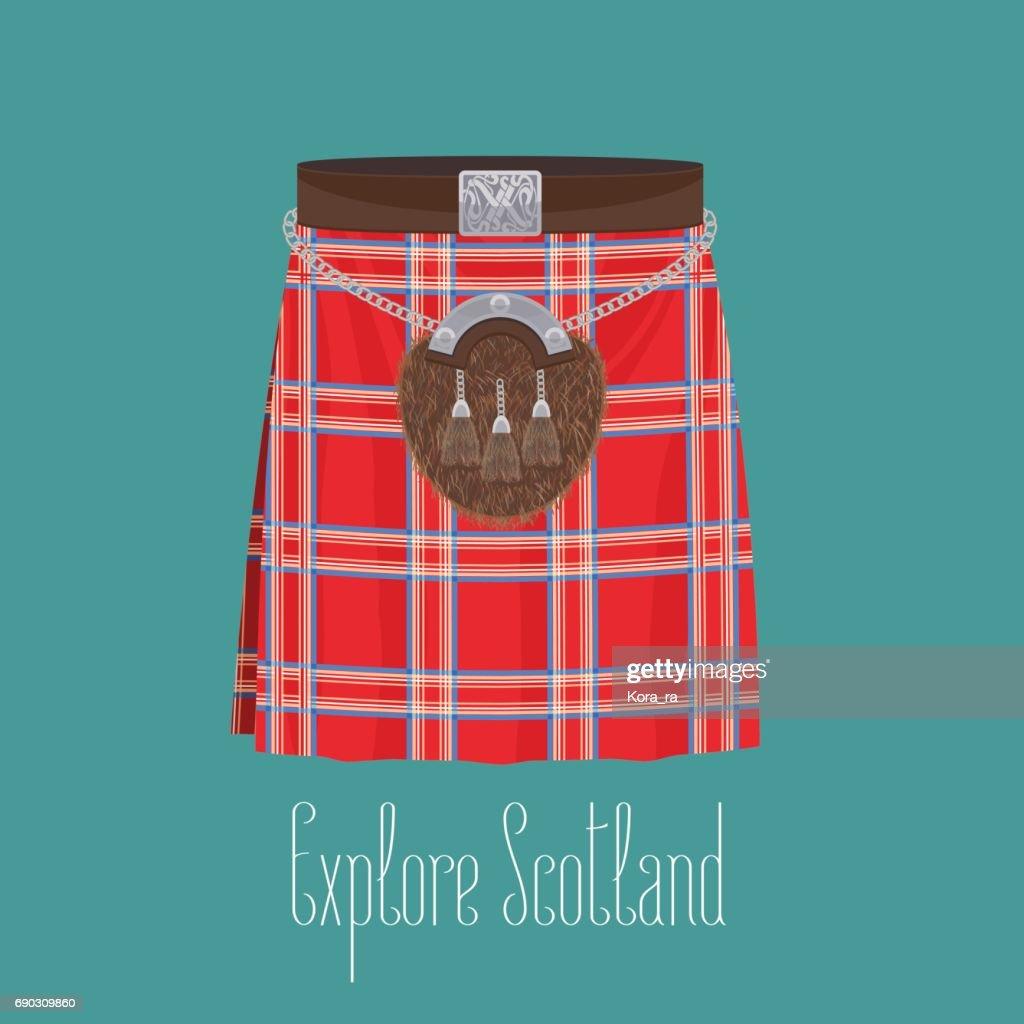 Scottish traditional skirt kilt with square pattern vector illustration