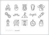 Scout line icon set