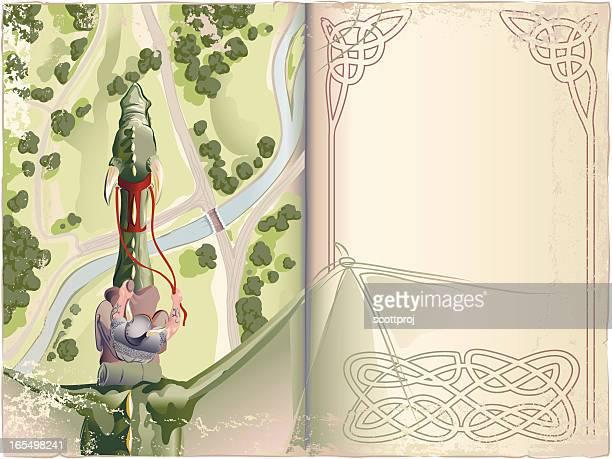 ilustraciones, imágenes clip art, dibujos animados e iconos de stock de scout pisos - libros volando