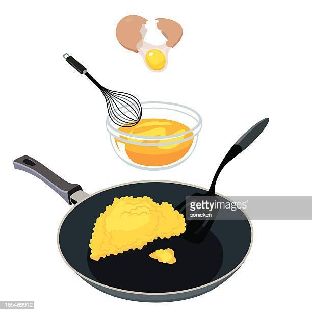 ilustraciones, imágenes clip art, dibujos animados e iconos de stock de huevo revueltos - huevo comida básica